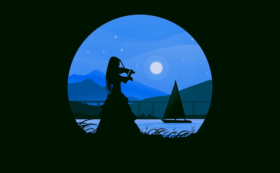 Violinist, Violin, Woman, Landscape, Moon, Scene