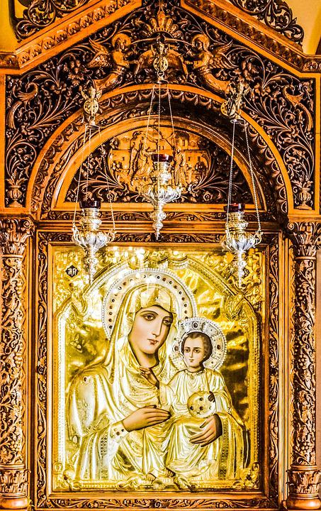 Icon, Virgin Mary, Jesus Christ, Wood Carving, Golden