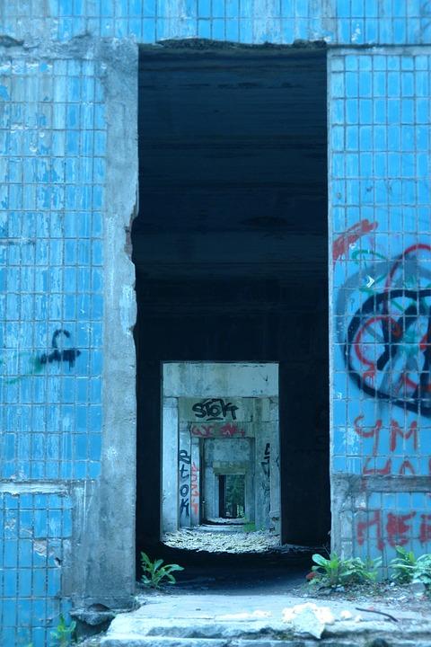 Vista, Construction, Corridor, Brick, Yama, Graffiti