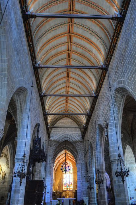 Church, Interior, Architecture, Vitreous, Brittany