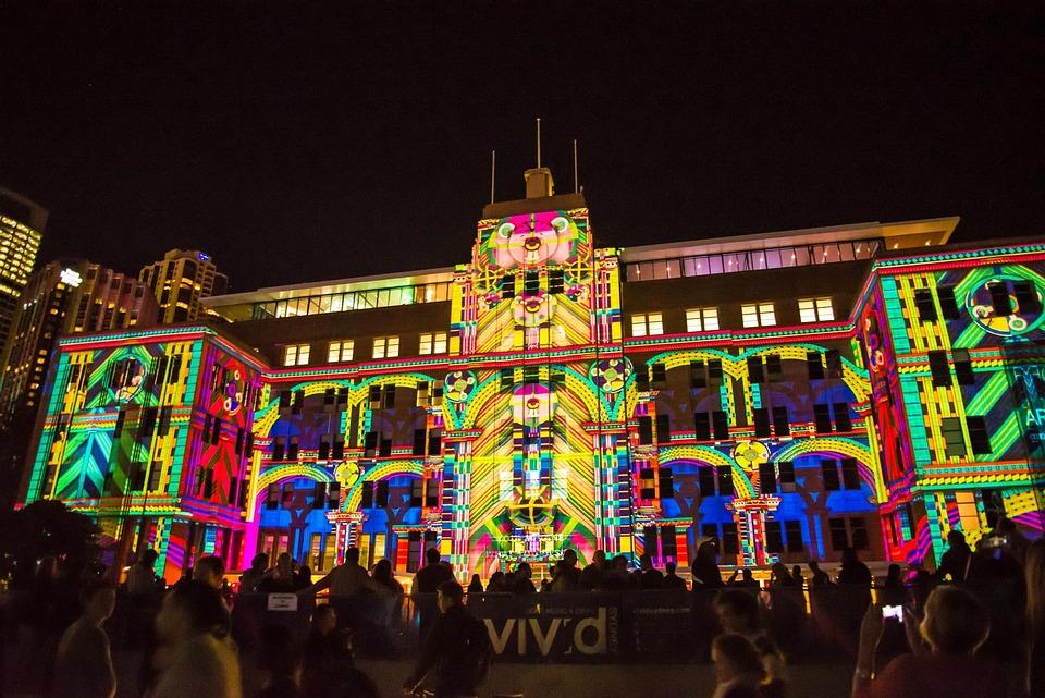 Sydney, Australia, Museum, Building, Vivid, Light Show