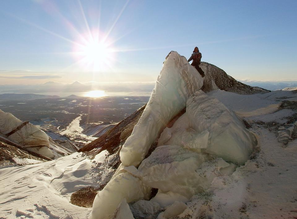 Volcano, Glacier, The Ice Wall, Kamchatka, Peninsula