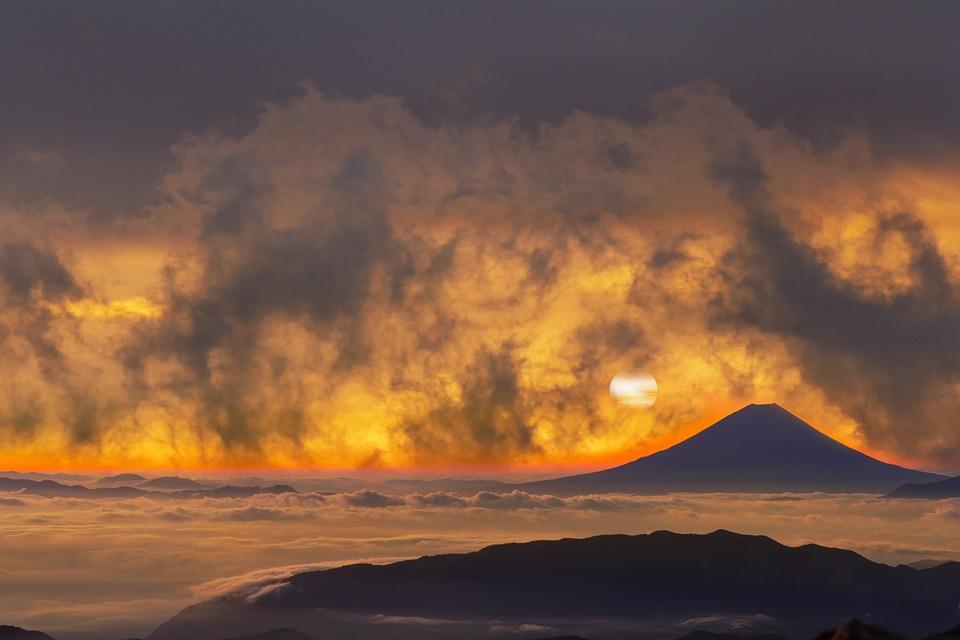 Volcano, Mountains, Sky, Orange Clouds, Sunset
