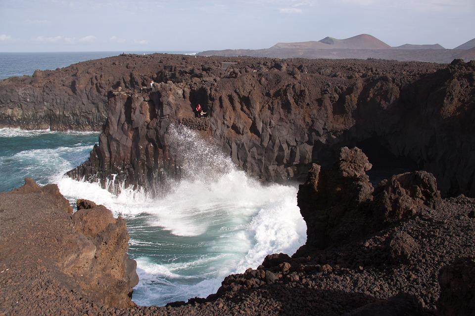 Volcano, Lava, Waves, The Atlantic Ocean, Vig, Spatter