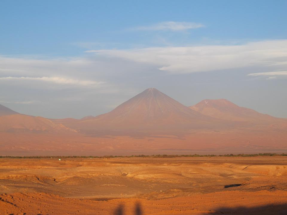 Atacama, Volcanoes, Chile, Desert, Sunset, Sand, Hot