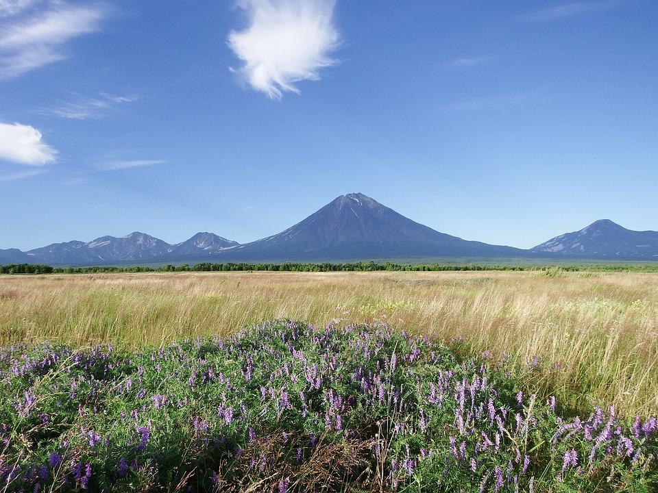 Volcanoes, Mountains, Field, Meadow, Flowers, Clouds