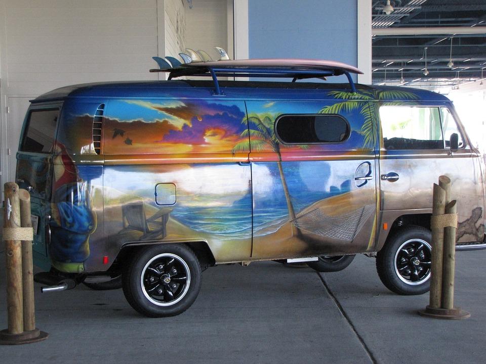 Old, Van, Vw, Volkswagen, Car, Automobile, Beach, Scene