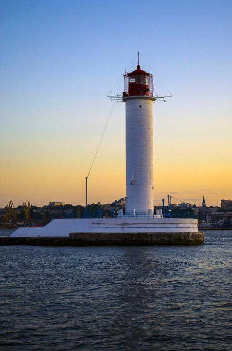 Vorontsov Lighthouse, Lighthouse, Bay, Sunset, Evening