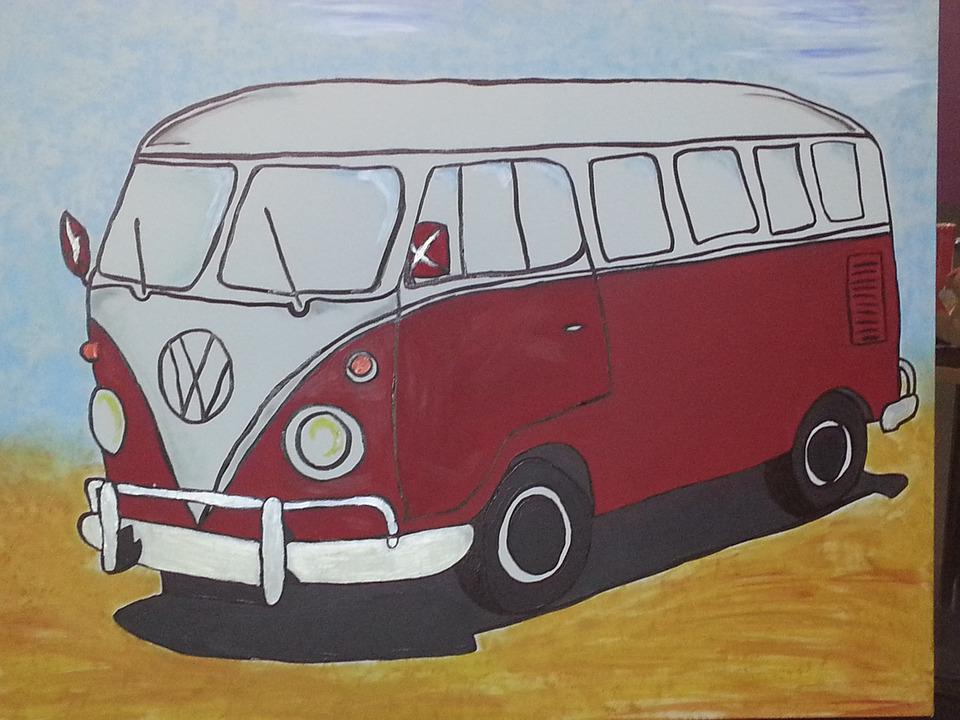 Auto, Vw Bus, Art, Painting, Image, Paint, Painted