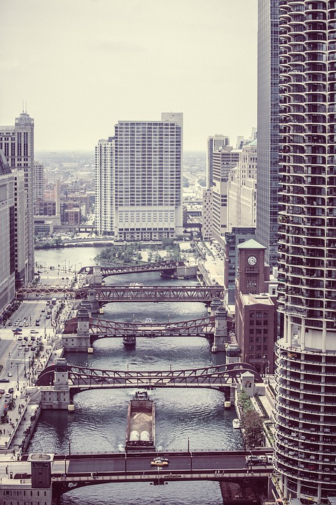 Wacker Drive, Chicago, Downtown, Bridges, River, Town