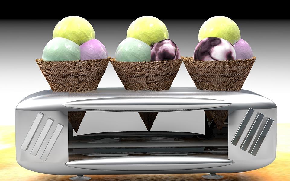 Ice, Waffle, Ball, Waffle Cone, Ice Ball