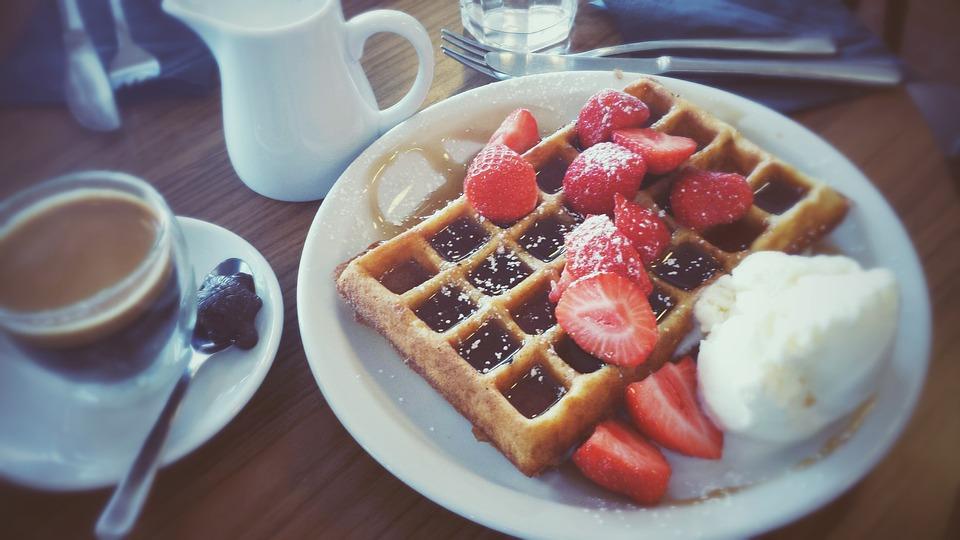 Waffle, Dessert, Fresh, Strawberry, Belgian, White