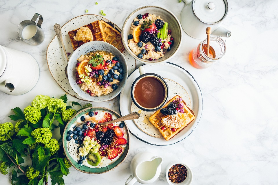 Food, Breakfast, Healthy, Green, Milk, Honey, Waffles