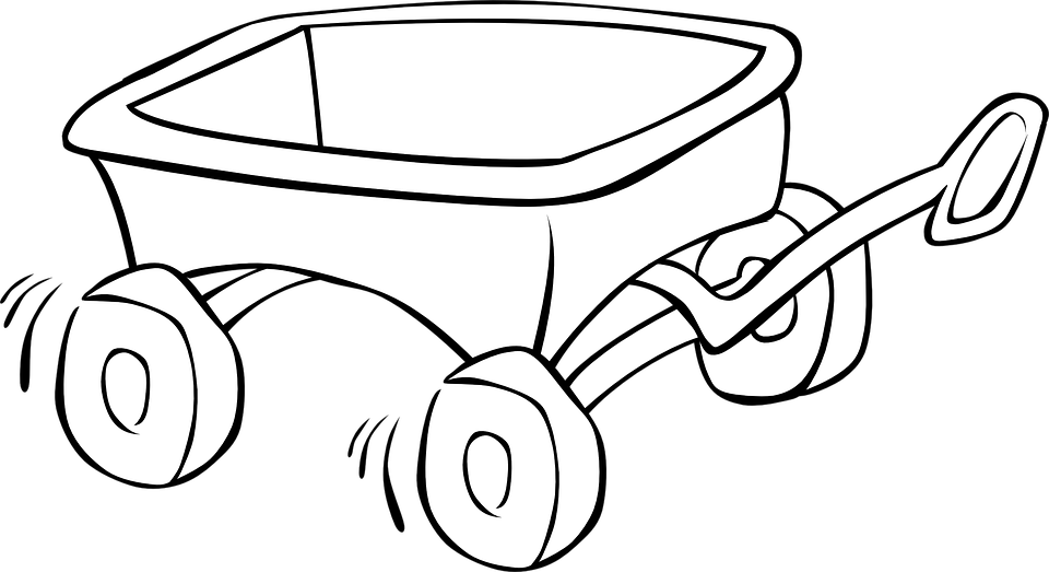 Wagon, Carriage, Toys, Child, Running, Outlines