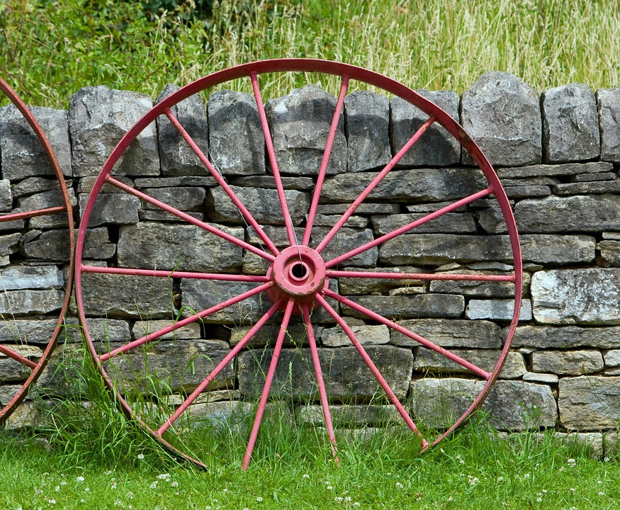 Wagon Wheel, Wheel, Old, Red, Leaning, Wall, Stone