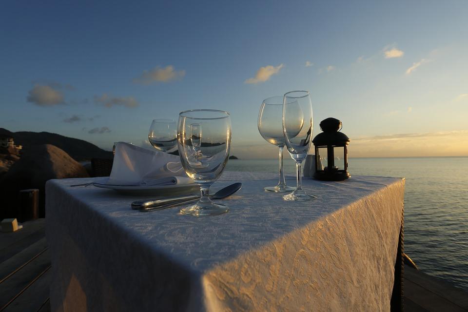 Sunset, Wait, Dinner, Beach, Table, Restaurant, Outdoor