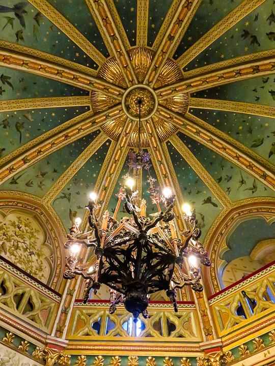 Chandelier, Castell Coch, Wales, Ceiling