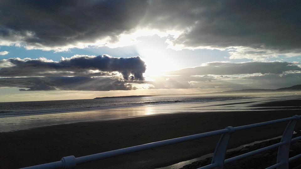 Wales, Sunset, Port Talbot, Beach, Cloud, Sky, Water
