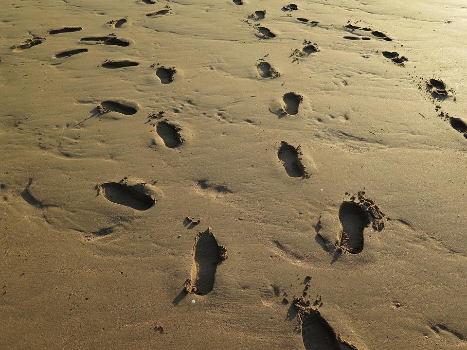 Footstep, Footprint, Barefoot, Beach, Journey, Walk