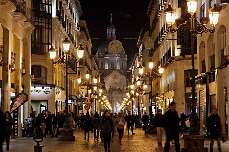 night city people christmas street lights walk