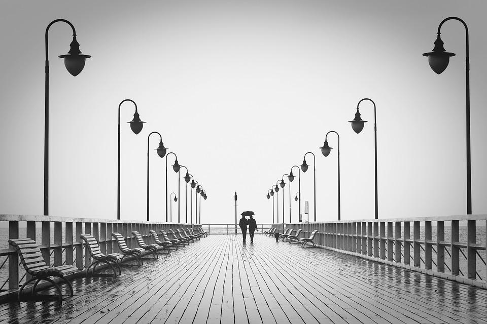 Couple, Jetty, Walk, Man, Boardwalk, Sea, Ocean, People