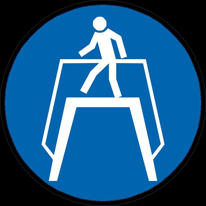 Use Walkway, Pedestrian, Walker, Man, Blue, Sign
