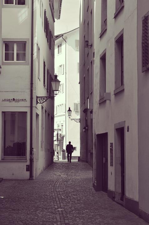 Man, Alley, Alone, Street, Walking, Houses, City