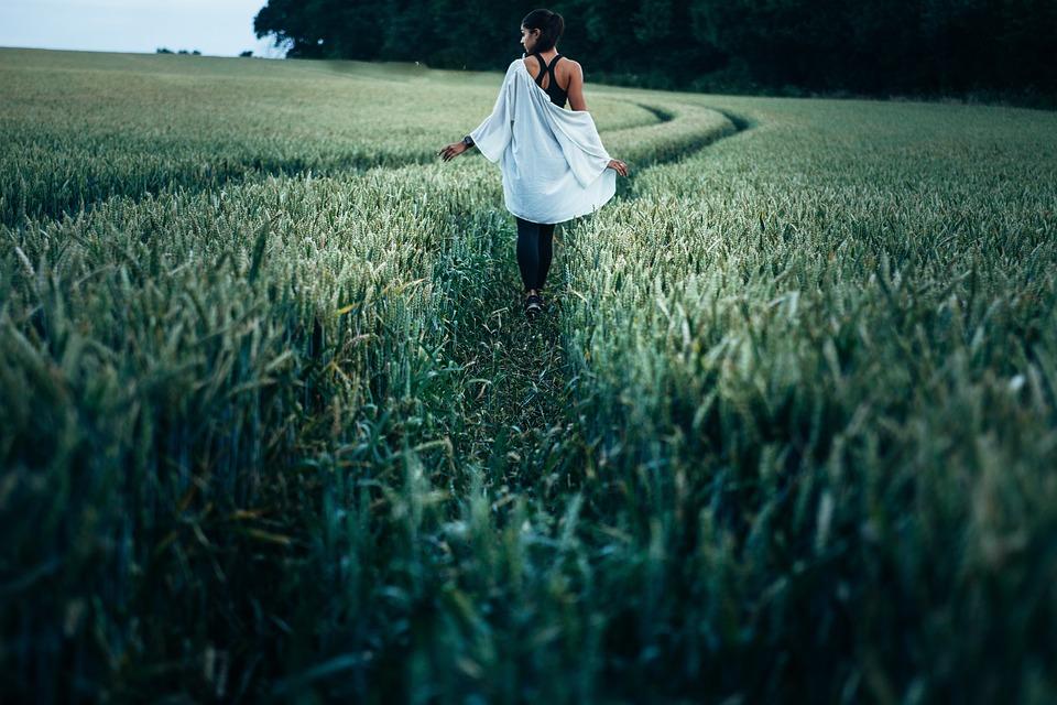 Woman, Walking, Farm, Farmland, Countryside, Crop