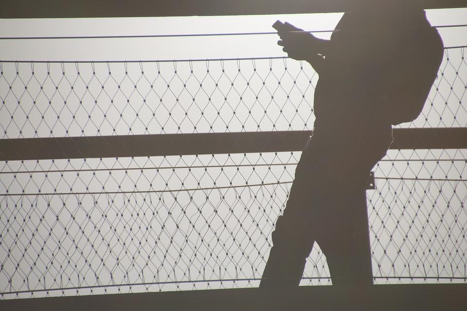 Man, Cell Phone, Bridge, Sunset, Walking, Holding