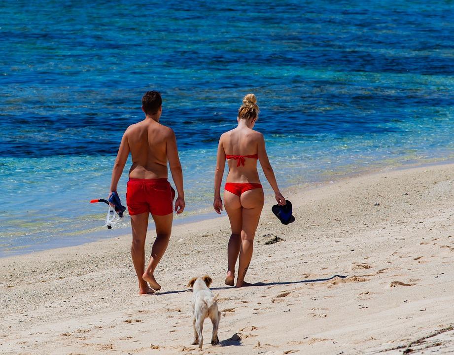 Beach, Bikini, Couple On Beach, Sand, Walking On Beach