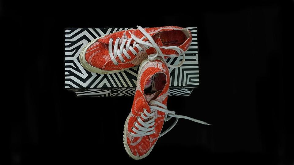 Shoes, Bright Orange, Casual, Walking, Shoes Box, Pair