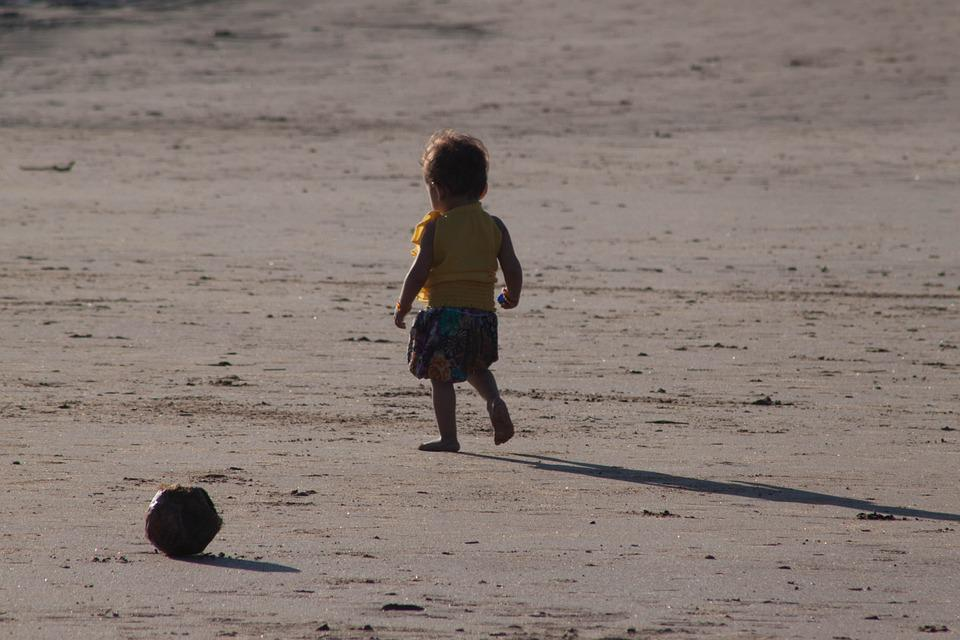 Toddler, Child, Walking, Beach, Sands, Alone