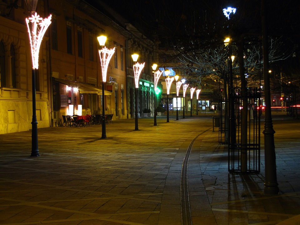 Walking Street, Lamps, In The Evening, Esztergom