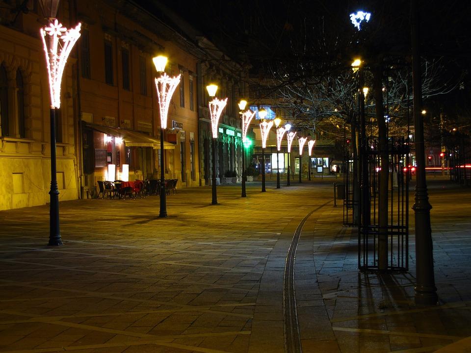 Walking Street, Lamps, In The Evening, Esztergom
