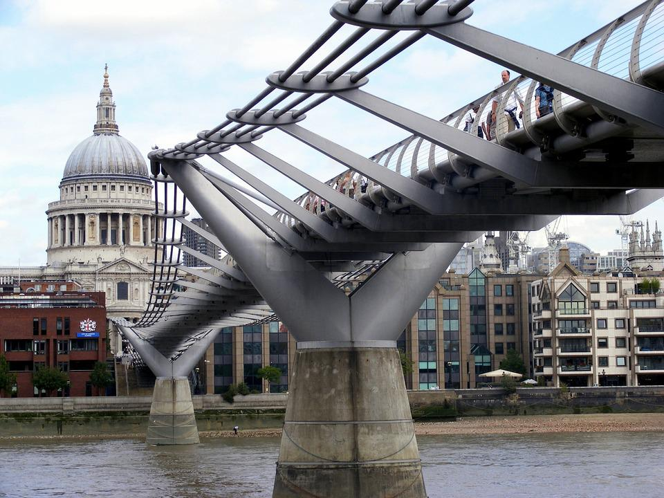 Bridge, Walkway, River, Crossing, Metal, London
