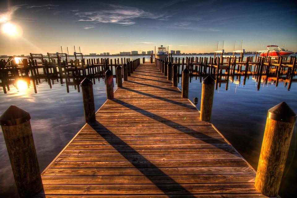 Pier, Harbor, Walkway, Sunset, Seaside, Sea, Ocean