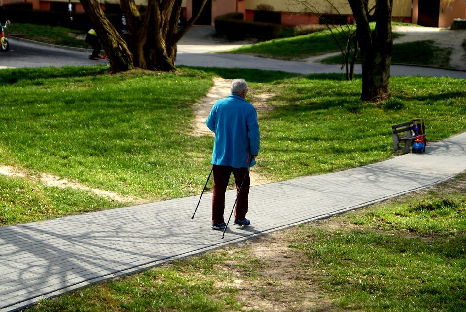 Older, Man, Reaching, Go, Sticks, Walkway, The Path