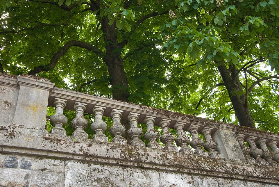 Trees, Wall, Balcony, Balustrade