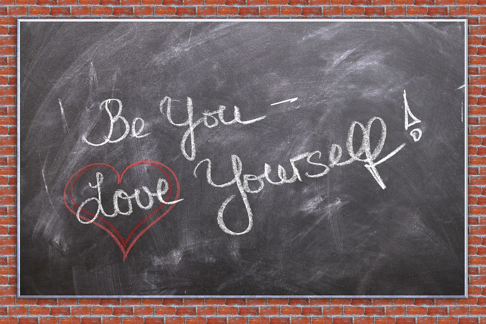 Self Love, Heart, Board, Blackboard, Wall, Chalk