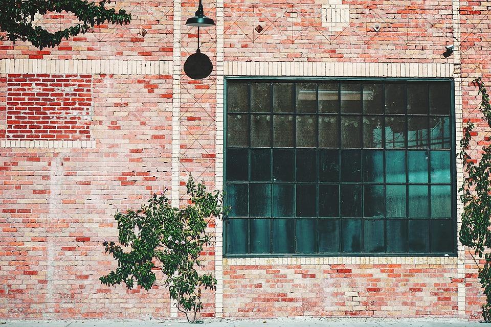 Industrial, Building, Window, Brick, Wall, Vegetation
