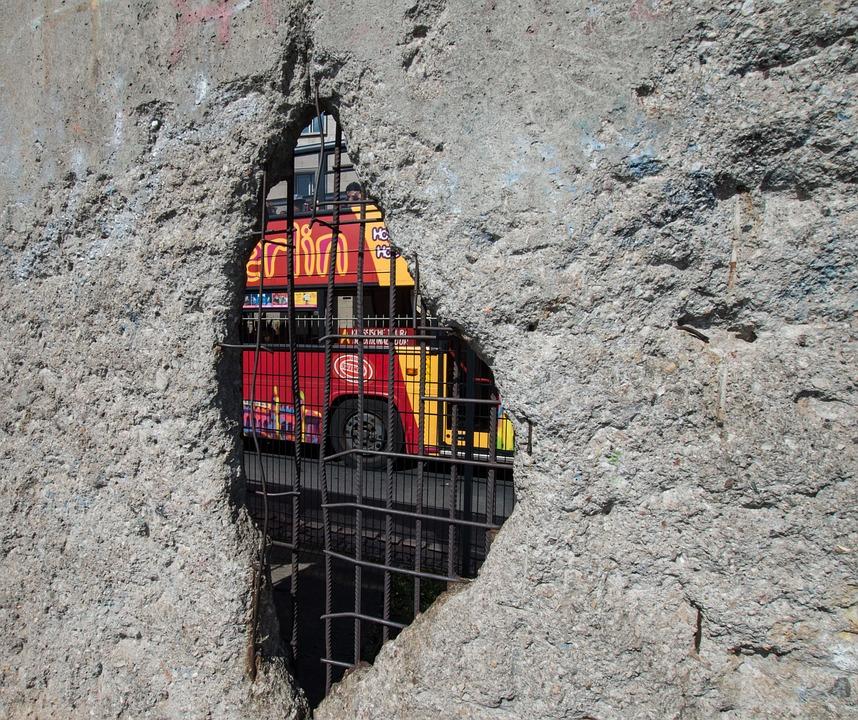 Wall, Berlin, Bus, Berlin Wall, Fragment, History