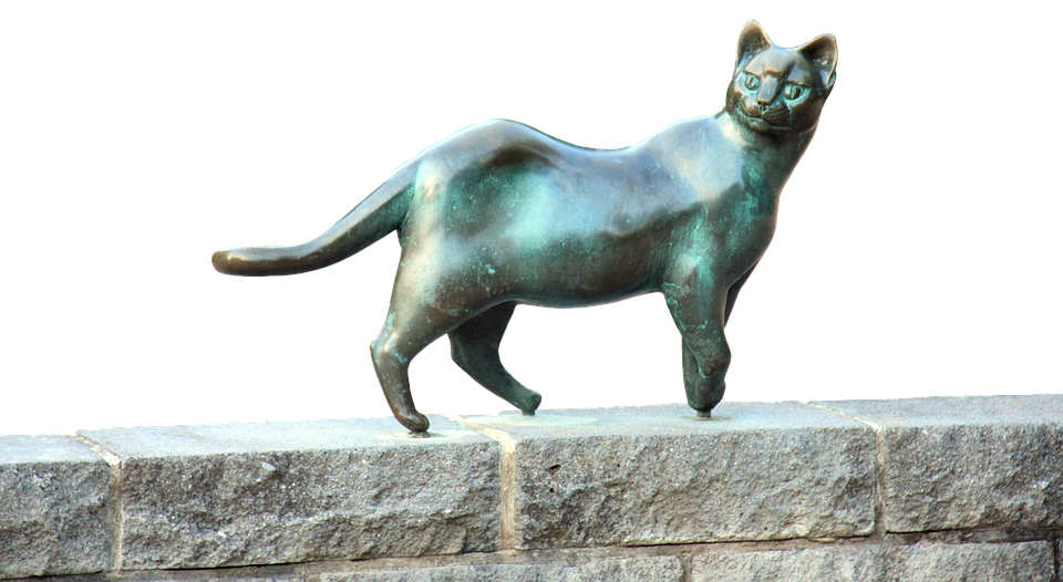 Cat, Bronze, Statue, Wall, Stone, Psd, Isolated