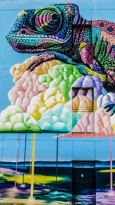 Chameleon, Graffiti, Colour, Wall, Hotel, Colourful