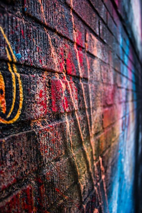 Street, Art, Colors, Colours, Wall, Bricks, Gravity