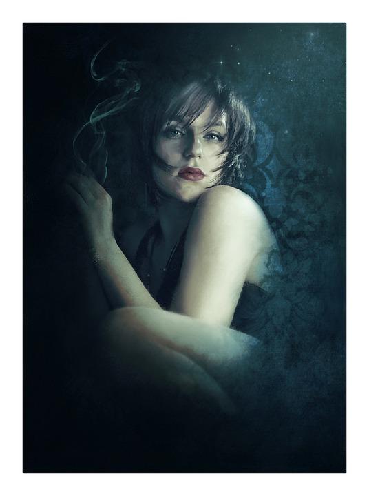 Fantasy, Dark, Gothic, Wall, Stars, Smoke, Woman, Girl