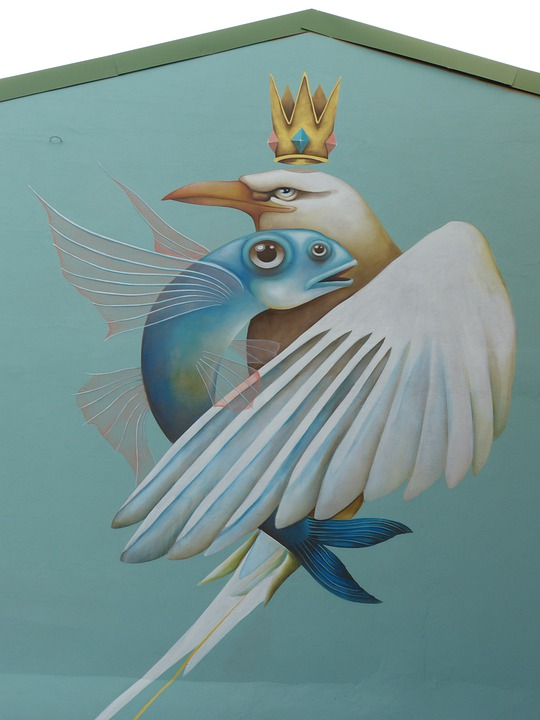Bird, Image, Wall, Painting, Fish, Wing, Crown