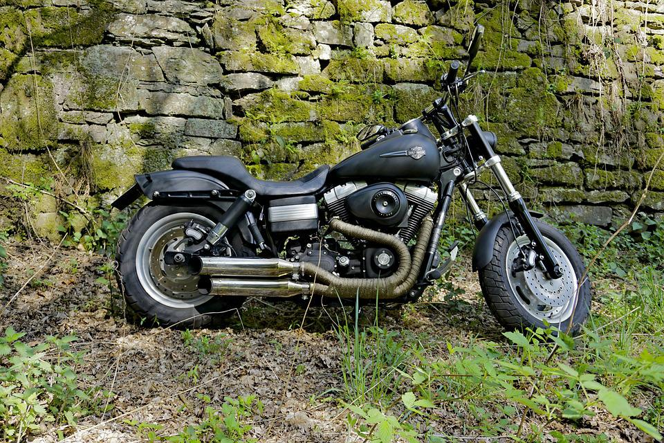 Harley Davidson, Fatbob, Wall, Stone Wall, Vehicle