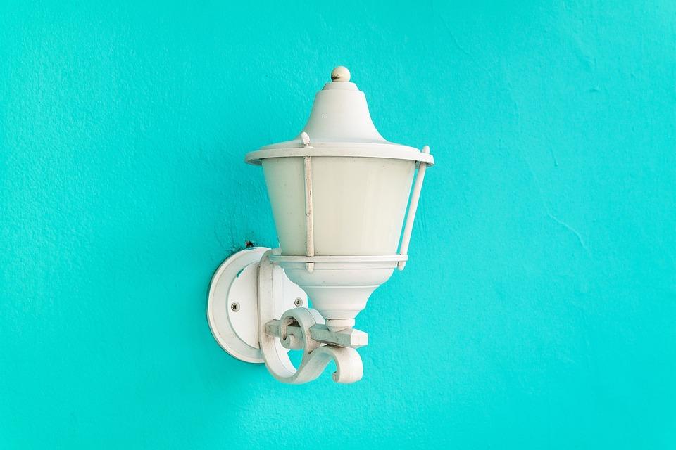Lamp, Blue, Wall, Light, Desk, Color, White, Clean