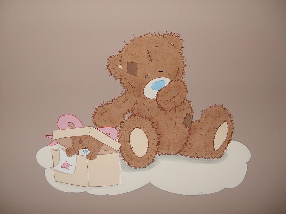 Wall Painting, Plush Teddy Bear, Teddy Bear
