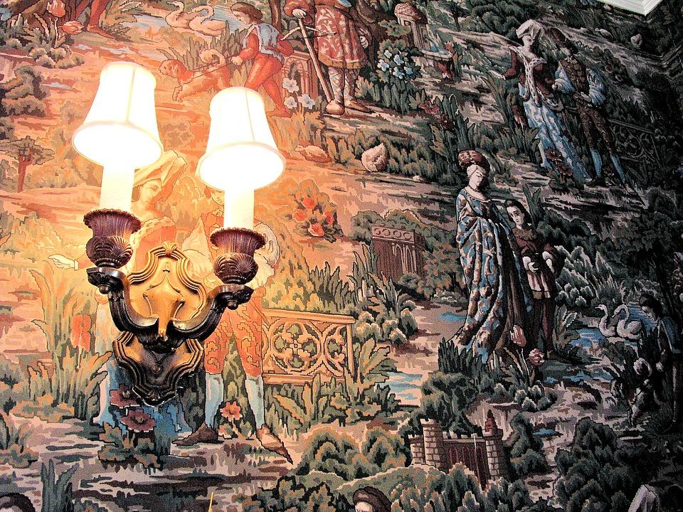 Wall Lamp, Wall Paper, Interior, Lamp, Decoration
